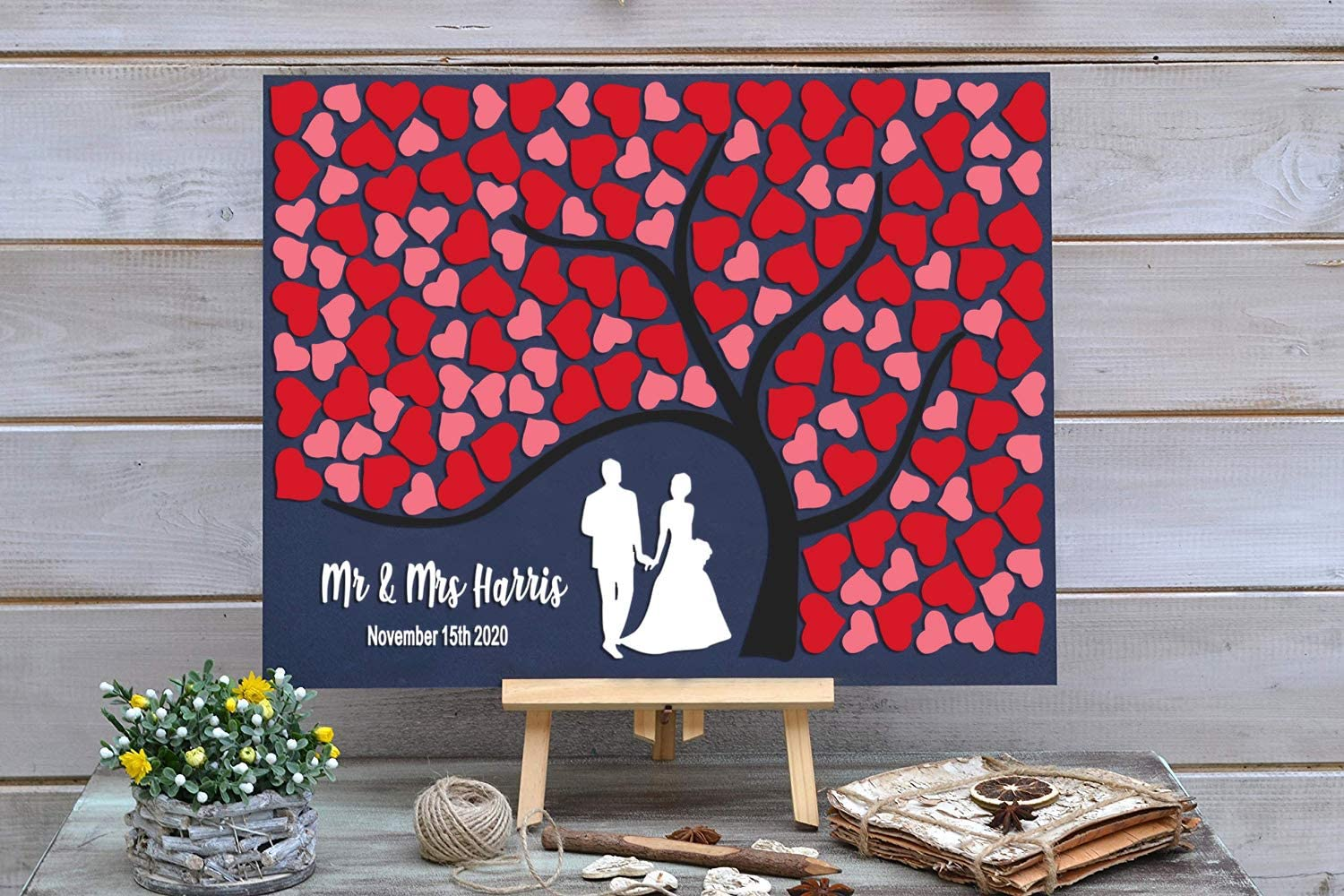 PotteLove Personalized Rustic Opening large release sale depot Wooden Wedding Book with Guest Red