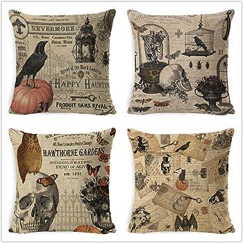 Halloween Pillow Covers Set of 4 Halloween Pillow Decorations Crow Skull and Pumpkin Throw Pillow Covers 18 X 18 Cotton Linen