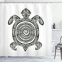 Ambesonne Turtle Shower Curtain, Maori Tattoo Style of Sea Animal Tribal Spiral Form Tropical, Cloth Fabric Bathroom Decor Set with Hooks, 70