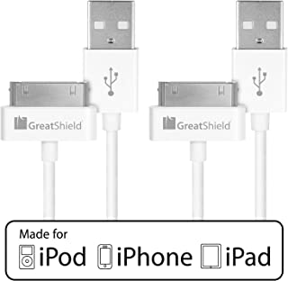 GreatShield Apple MFI Certified USB Sync and Charge Data Cable for all 30-Pin Apple iPhone, iPhone 3G/3GS, iPhone 4/4S, iPod Touch 1st, 2nd, 3rd, 4th gen, iPod Nano 5th/6th gen, iPad, iPad 2/3 - 3ft / 90 centimeters (White, 2 Pack)