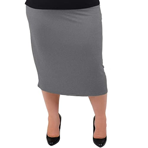 ce43810229 Stretch is Comfort Women's Plus Size Comfortable Soft Stretch MIDI Skirt
