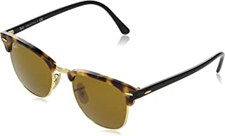 RB3016 Clubmaster Square Sunglasses, Spotted Brown Havana/Brown, 51 mm