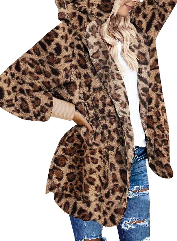 HIKARO Damen Winterjacke Kapuzenjacke Teddy Fleece Cardigan Lange ÄRmel Faux Wolle Mantel Mit Taschen Cardigan Jacke Warm Plüsch Oberbekleidung S-3XL 1-leopard
