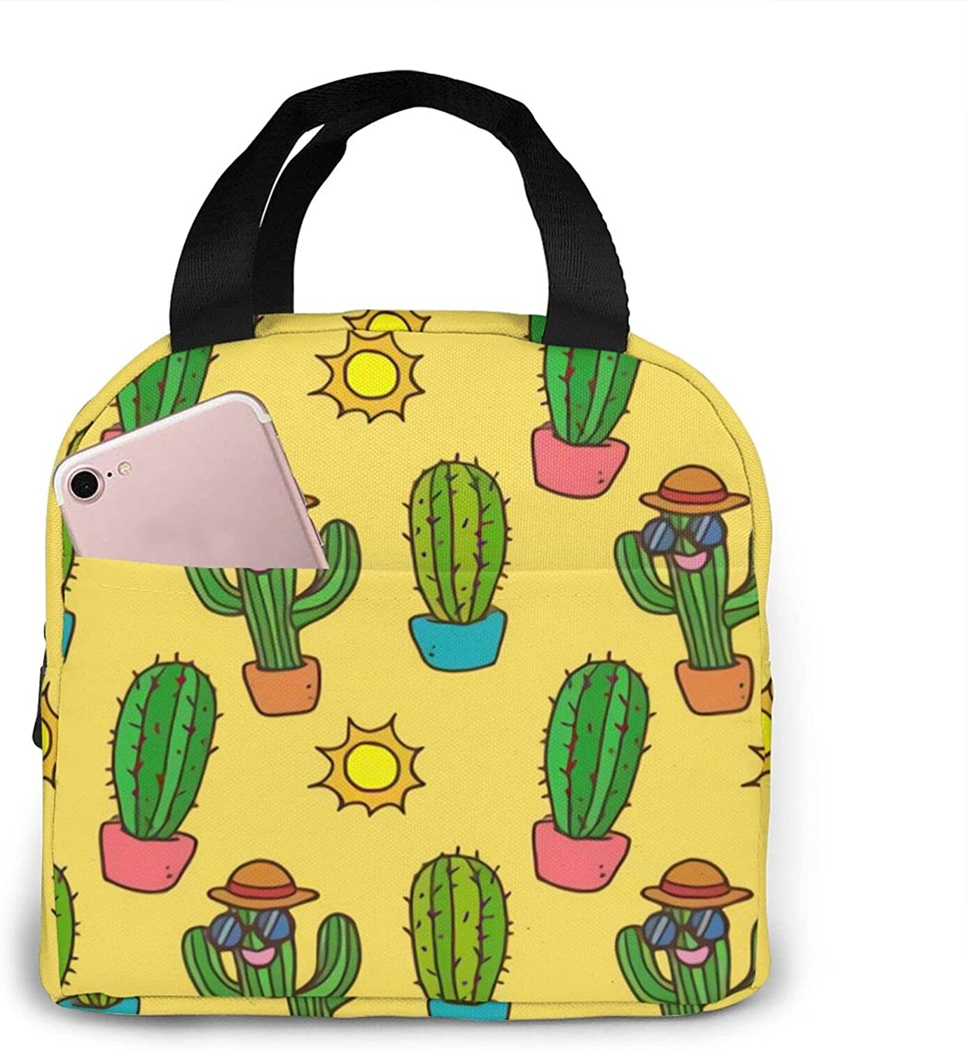 Funny Cactus With Sunglasses Directly managed store Portable Lunch Unisex Bag Sale Insulated
