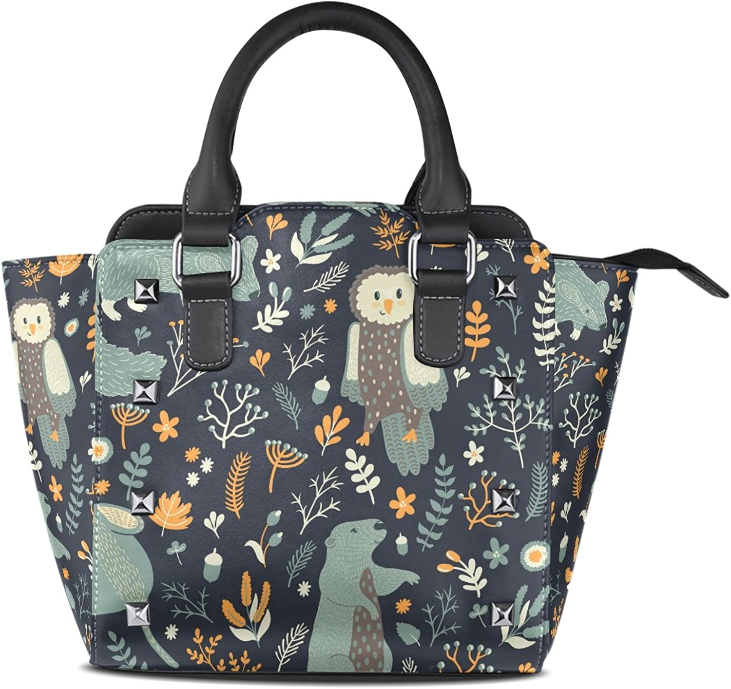 My Little Nest Women's Top Handle Satchel Handbag Forest Cute Animals Leaves Flowers Ladies PU Leather Shoulder Bag Crossbody Bag