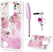 LG K20 Plus Case, LG K10 Case 2017, LG K20 V Case, Liquid Case Bling Sparkle Shiny Rose Flower Cover Floating Moving Love Heart Glitter Clear Ultra Thin TPU Bumper with Pen Dust Plug ZSTVIVA - Pink