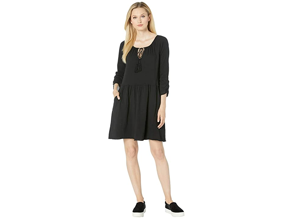 Mod-o-doc Slub Notch Neck Shirred Sleeve Dress (Black) Women