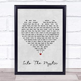 123 BiiUYOO Van Morrison Into The Mystic Grey Heart Song Lyric Print with Frame 14