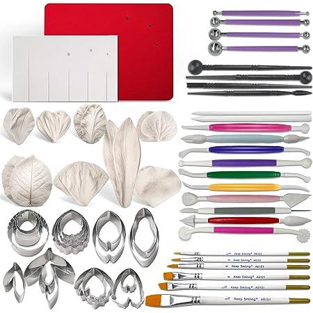 Kit de herramientas para pasta de goma, flores y hojas, juego de 8 cortadores de flores de metal, 6 moldes de silicona para venas, 1 tabla de venas, 1 almohadilla de espuma, 7 herramientas de modelado, 6 pinceles, 4 herramientas de bola, 4 varillas para volantes, 2 herramientas para pastel
