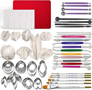 Gum Paste Flowers and Leaves Fondant Tools Kit-8set Metal Flower Cutter 6set Veining Silicone Molds 1 Veining Board 1 Foam Pad 7 Modelling Tools 6 Brushes 4 Ball Tools 4 Frilling Sticks 2 Cake Carved