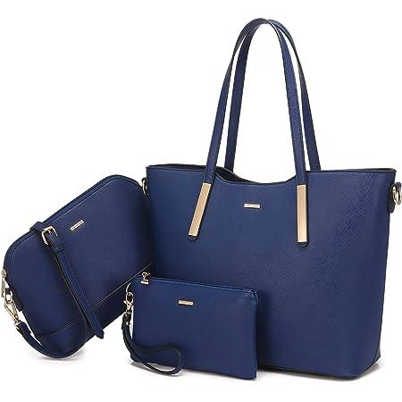 LOVEVOOK Handtasche damen shopper Schultertasche Umhängetasche Damen Blau Geldbörse Tragetasche Groß Damen Tasche Tote für Büro Schule Einkauf Reise Leder Handtasche 3 Set Blau