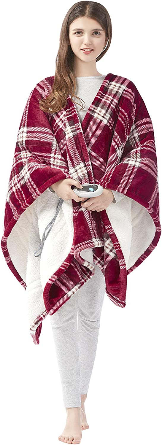Trust Beautyrest Ultra Recommended Soft Sherpa Berber Wrap Electric Poncho Fleece