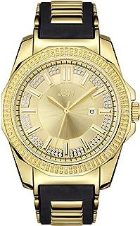 JBW Luxury Men's Regal 16 Diamonds Steel & Rubber Bracelet Watch