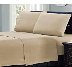 Mellanni 100% Cotton Flannel Pillowcase Set - Warm - Super Soft - Breathable Bedding (Set of 2 Standard Size, Beige)