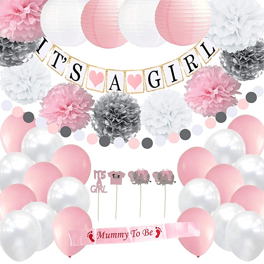 Girl Baby Shower Decorations Set | It's a Girl Banner | Party Paper Lanterns | Pink White & Silver Flower Tissue Pom Poms | Mommy To Be Sash | Balloons All in | Circle Garland | Cupcake Toppers One Full Set Ready to Use