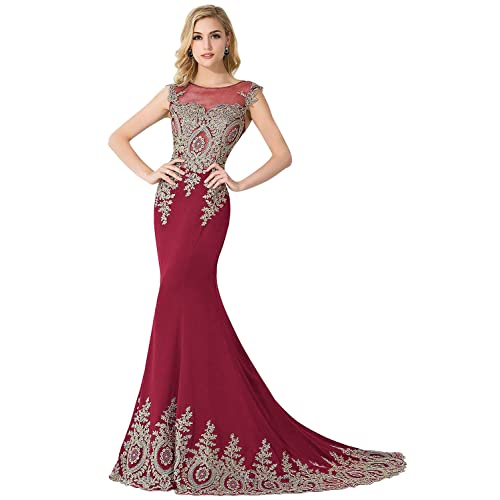 88425058aa2 MisShow Women s Embroidery Lace Long Mermaid Formal Evening Prom Dresses