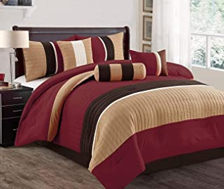 JBFF Modern 7 Piece Oversize Stripe Comforter Set Bedding with Accent Pillows (Burgundy, Cal King)
