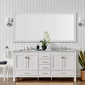Eviva Evvn412 72wh Aberdeen 72 Inch White Transitional Double Carrara Marble Countertop And Undermount Porcelain Sinks Bathroom Vanities 72 Amazon Com
