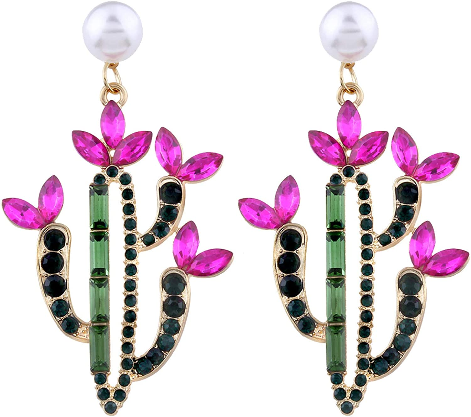 Colorful Rhinestone Cactus Faux Pearl Charm Statement Stud Earrings Gift for Women Girls Teens