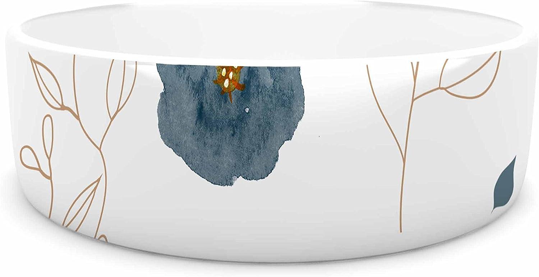 KESS InHouse Li Zamperini bluee Collection  Deli bluee Beige Watercolor Pet Bowl, 7  Diameter