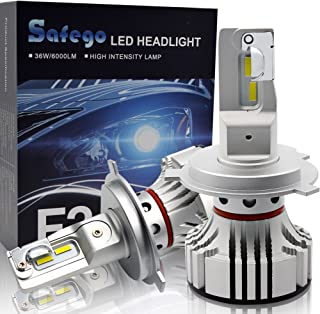 H4 9003 LED Headlight Bulb Hi/Lo Beam Conversion Kit SAFEGO 72W 65000K 12000LM(6000LMx2) H4 Bulb Extremely Bright Led Chips Waterproof Ip67 360°Degree Lighting for Car Headlight Replacement,2 Pack
