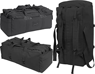 Black Israeli Military Mossad Tactical Carry Duffle Bag with Backpack Straps and Streamer