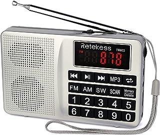comprar comparacion Retekess TR603 Radio Portátil Am FM Onda Corta Soporte Tarjeta SD Disco USB Entrada AUX Reproductor de MP3 Altavoz Botón G...