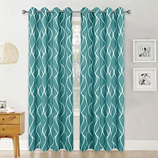 RYB HOME Curtains for Living Room, Noise Insulation Curtains for Bedroom, Washable Curtains for Bathroom with Moire Pattern, Teal, Wide 52 inch by Long 95 inch, 2 Pcs