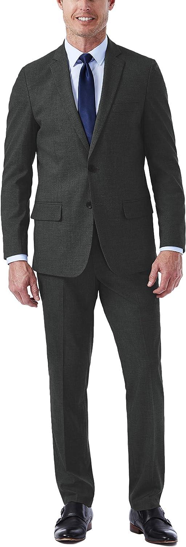 Haggar Men's Jm Premium Performance Stretch Stria Slim Fit 2-Button Suit Separate Coat, Medium Grey, 42S with Slim Fit Plain Suit and Pant, Medium Grey, 33Wx32L