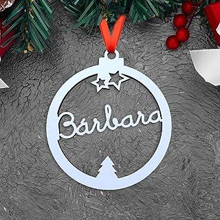 KARIVOO Bola para árbol de navidad personalizable cortada con nombre en blanco