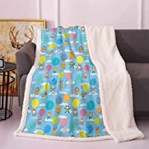 Nursery Thick Blanket Colorful Balloon Animal Pattern with Cartoon Drawing Style Tiger Panda Lion Bear Frozen Blanket Multicolor 60