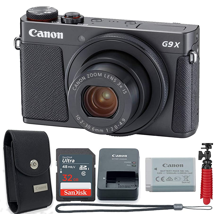Canon PowerShot G9 X Digital Camera with 3X Optical Zoom, Built-in Wi-Fi and 3 inch LCD Touch Panel (Black) + 32GB Memory with Accessory Bundle