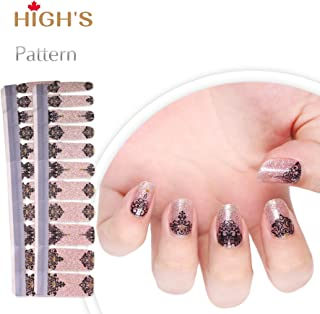 HIGH'S NEW DESIGN EXTRE ADHESION Nail Wraps Decals Art Transfer Sticker Collection Manicure DIY Fullnail Polish patch Strips for Wedding, Party, Shopping, Travelling, 20pcs(Champagne Dress)