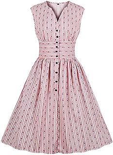 Ez-sofei Women's Vintage 1940s Buttons Shirt Party Swing Tea Dress Plus Size