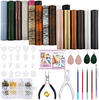 Caydo 3 Style 18 Pieces Faux Leather Sheets with Instructions, Earring Cut Template and Earrings Making Tools Kit for Making Leather Earrings Bows and Crafts(6.3 X 8.3 inch)