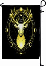 GROOTEY Garden Flag Stand,Welcome Garden Flag Animation Portrait Horned Deer Spirit The Wood Pagan Deity Circle Sacred Geometry Phase Moon Gold Isolated 12X18 Inches,Garden Flag Set,Pink Green