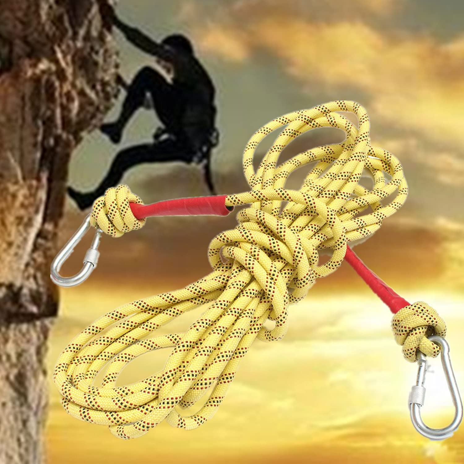 Bazaar 10M Rock Mountain Climbing Rope Outdoor Survival String Dynamic Paracord With Two Hooks