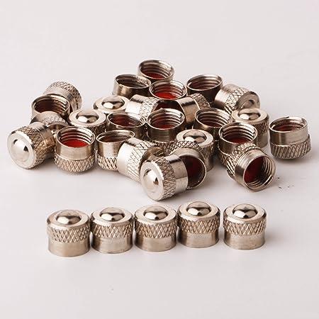 RUNCCI-YUN Bouchons de Valve en Aluminium Casquettes Anti Poussière de Voiture Tige de Roue de Pneu Capuchons de Poussière de la Valve, 30 Pièces (Argent)