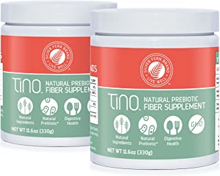 Tino High Fiber Supplement Powder - Non-GMO, Pre-Biotic, Water Soluble, Digestive Friendly, Powdered Mix - Add to Water, Juice, Shakes, Cereal & More (2 Cannisters - 11.6 Oz. ea.)