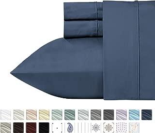 California Design Den 400 Thread Count 100% Cotton Sheet Set, Indigo Batik Queen Size Sheets 4 Piece Set, Long-Staple Combed Pure Natural Cotton Best Bed Sheets for Bed, Soft & Silky Sateen Weave