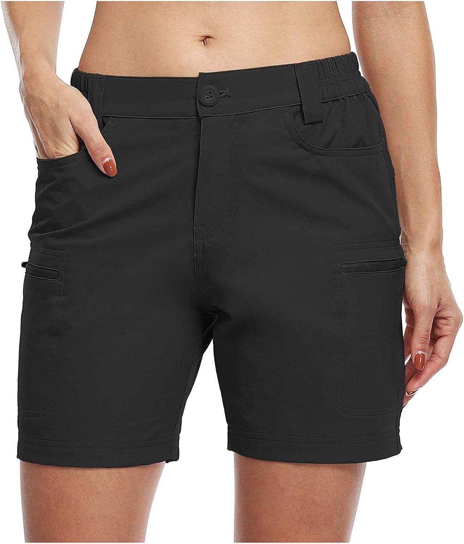 KIMOH Womens Hiking Shorts Stretch Quick Dry Outdoor Cargo Shorts Pockets Lightweight Elastic Waist Pants