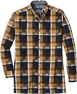 Casamoda Camisa Sarga de Manga Larga Check Mostaza Amarilla-navegación XXL