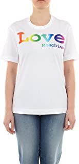 Love Moschino Cotton Jersey T-Shirt_Rainbow Shiny Satin Logo On The Front Donna