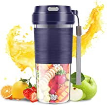 SZMDLX Portable Blender, Cordless Mini Personal Blender USB Rechargeable Smoothie Juicer Cup, 300mL Waterproof Fruit Mixing Machine for Baby Travel Home Office Sports Outdoors, BPA Free (Blue)