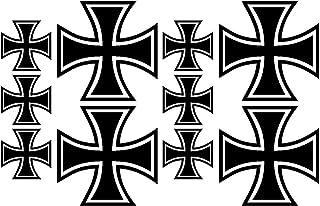 Eisernes Kreuz Aufkleber Set 6-teilig IRON GROSS matt o glänzend schwarz