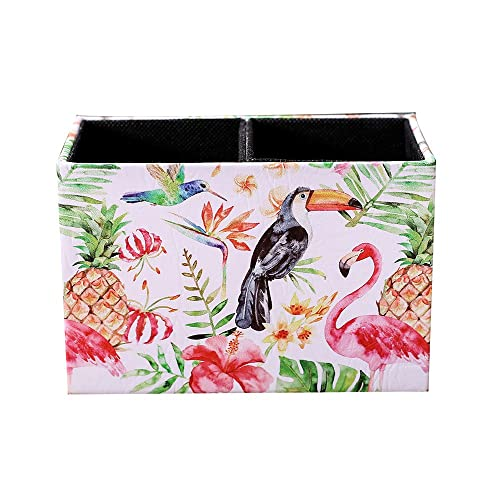 LINKWELL Toucan and Flamingo Watercolor Pattern PU Leather Rectangular Pencil Pen Holder Desk Organizer PH26