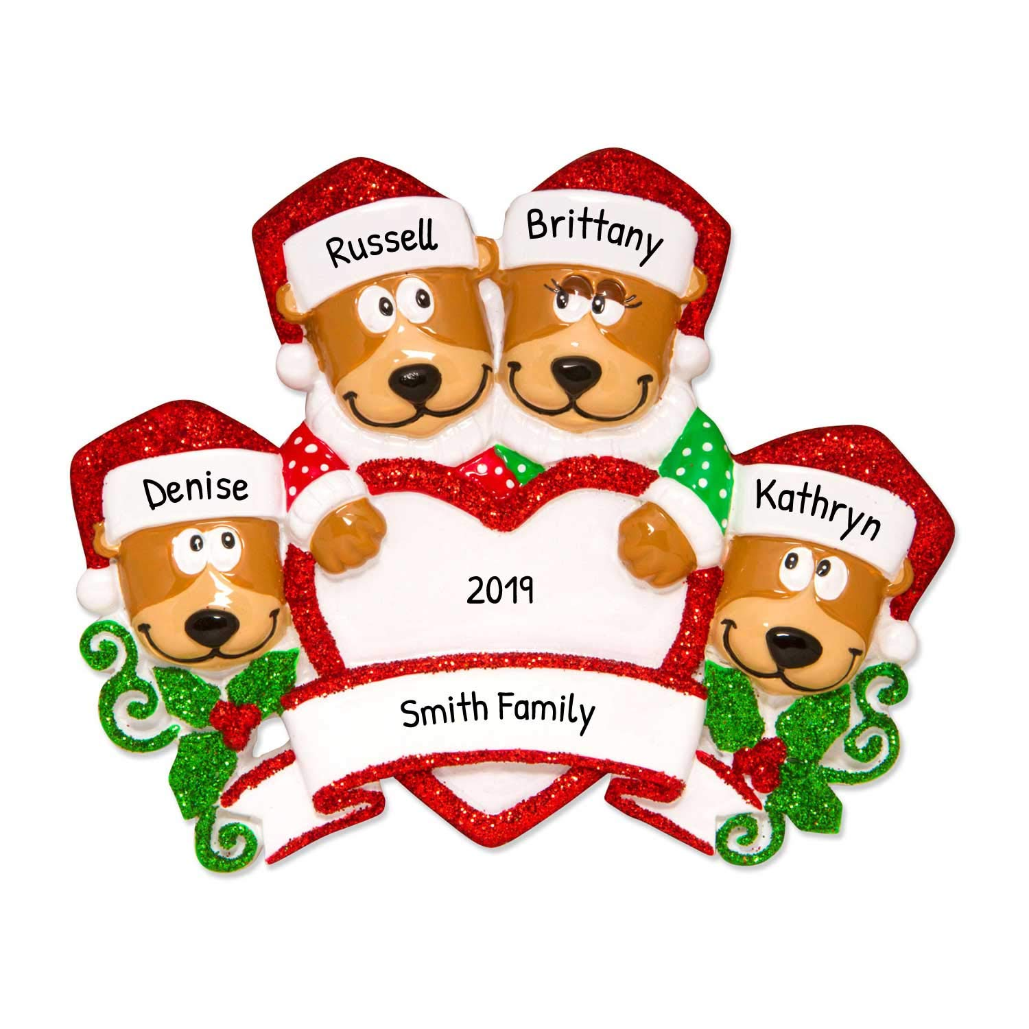 Free Product With Purchase Christmas 2020 Amazon.com: Personalized Brown Bear Family of 4 Christmas Tree