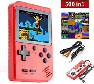 Imponigic Handheld Game Console, Retro Mini Game Player with 500 Classical FC Games 3.0-Inch Color Screen, Double Players Mode, Support Connect TV, 1020mAh Rechargeable Battery