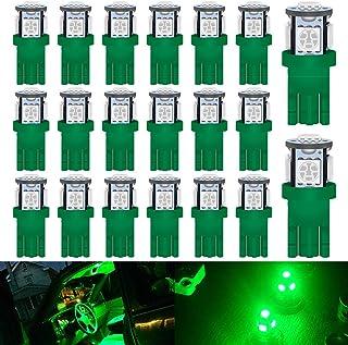DEFVNSY - Paquete de 20 -Superbrillante Verde T10 194 2825 168 Bombilla LED 5050 Chipset 5SMD para camión de 12V Interior del Coche Domo Mapa Puerta Marcador de cortesía Luces de matrícula