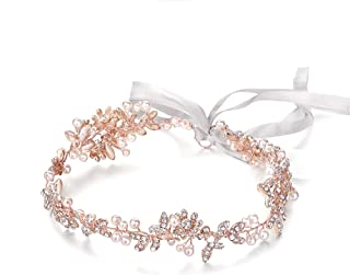 Ammei Rose Gold Vintage Bridal Crystal Headbands Wedding Headpieces Hair Pieces For Bride Bridesmaids Flower Girl Prom Hair Accessories With Ivory Ribbons Hair Vines